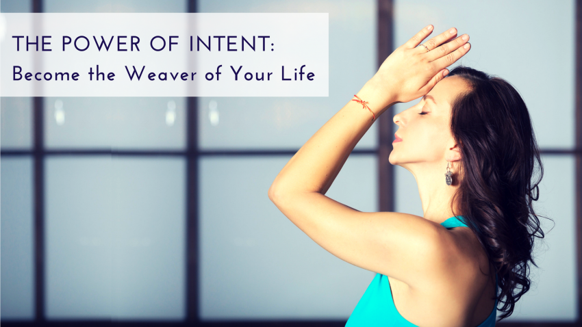A woman in Anjali Mudra pose, with her hands on her forehead, to practice the power of intent in yoga
