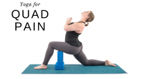 woman practicing yoga lunge pose with props modification for quad pain
